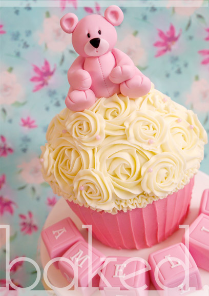 Bear Giant Christening Cupcake