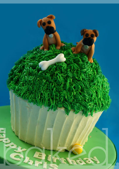 Giant Cupcake with dog toppers