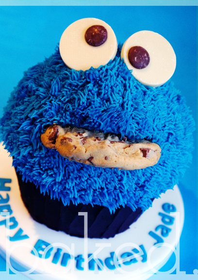 Cookie Monster Giant Cupcake