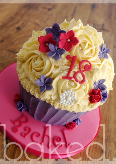 Pink and Purple Flower Giant Cupcake