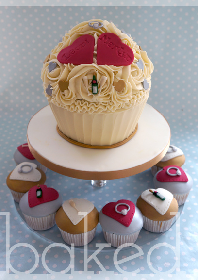 Champagne Engagement Giant Cupcake