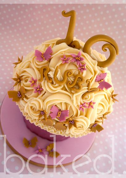 Pink and Gold Birthday Giant Cupcake