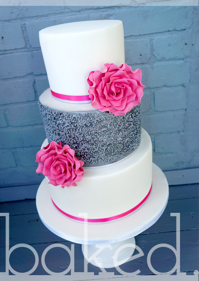 Hot Pink Silver Sequin Wedding Cake