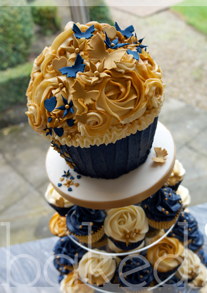 Navy and Gold Wedding Giant Cupcake Tower