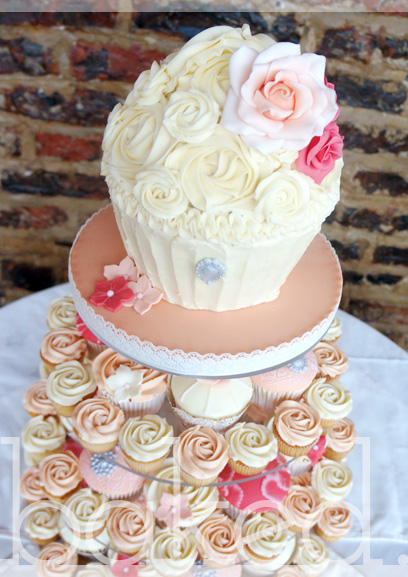 Peaches and Cream Vintage Cupcake Tower