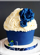 Blue Rose Giant Cupcake