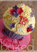 Pink and pruple flower giant cupcake