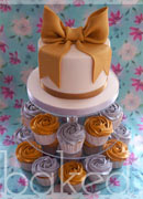 Gold and Silver Bow Wedding Cake