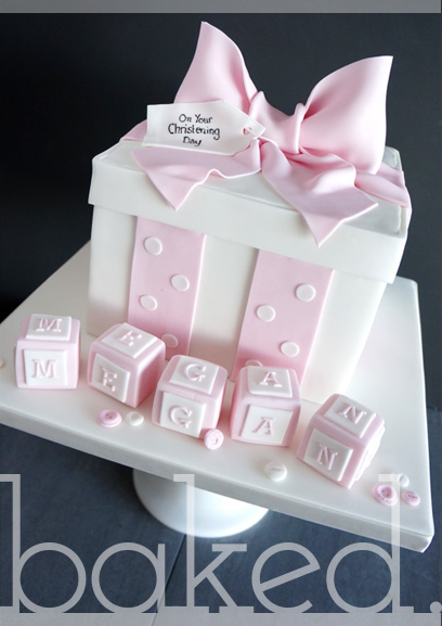 Gift Box Christening Cake For Baby Girl